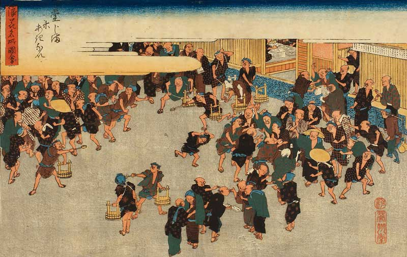 Como Investir na Bolsa para Iniciantes: representação da Bolsa de Arroz de Dojima, no Japão. Ambiente de trocas e atmosfera semelhante à Bolsa de Valores atual