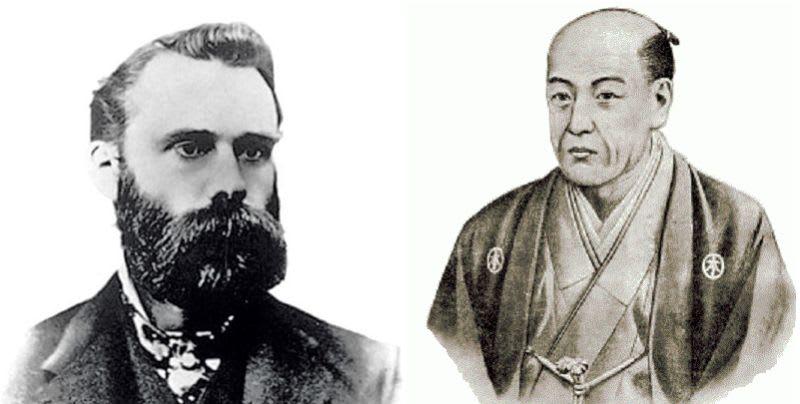 À direita, Charles Dow, e à esquerda, Munehisa Homma.