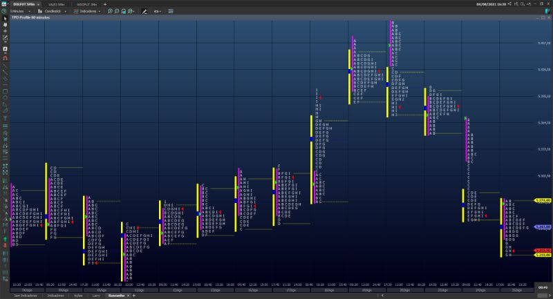 "Exemplo de Market Profile (identificado na plataforma Profit como ""TPO Profile"")"