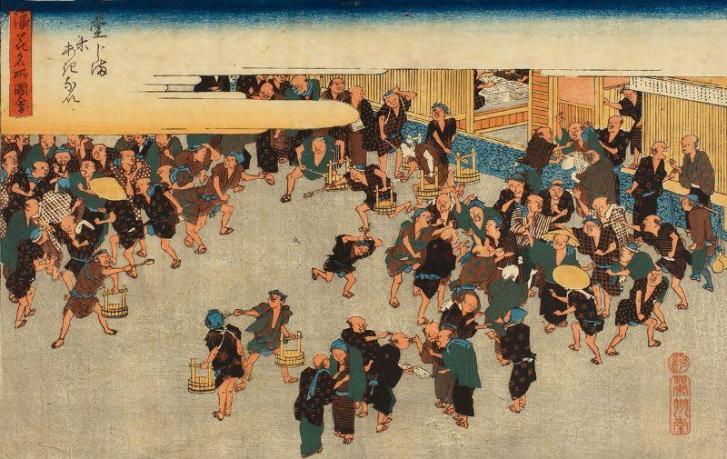 Ilustração da autoria de Hiroshige, representando a Bolsa de Arroz de Dojima, o primeiro ambiente de negociação similar à Bolsa como conhecemos hoje.