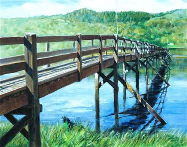 Port Appin Studio textile art: Jubilee Bridge,Strath of Appin