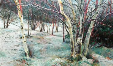Port Appin Studio textile art: Birches, Clach Thoull