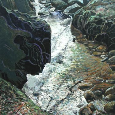 Port Appin Studio textile art: Glen Dubh Waterfall