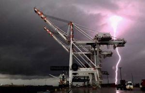 Cargo Cranes in a lightning storm