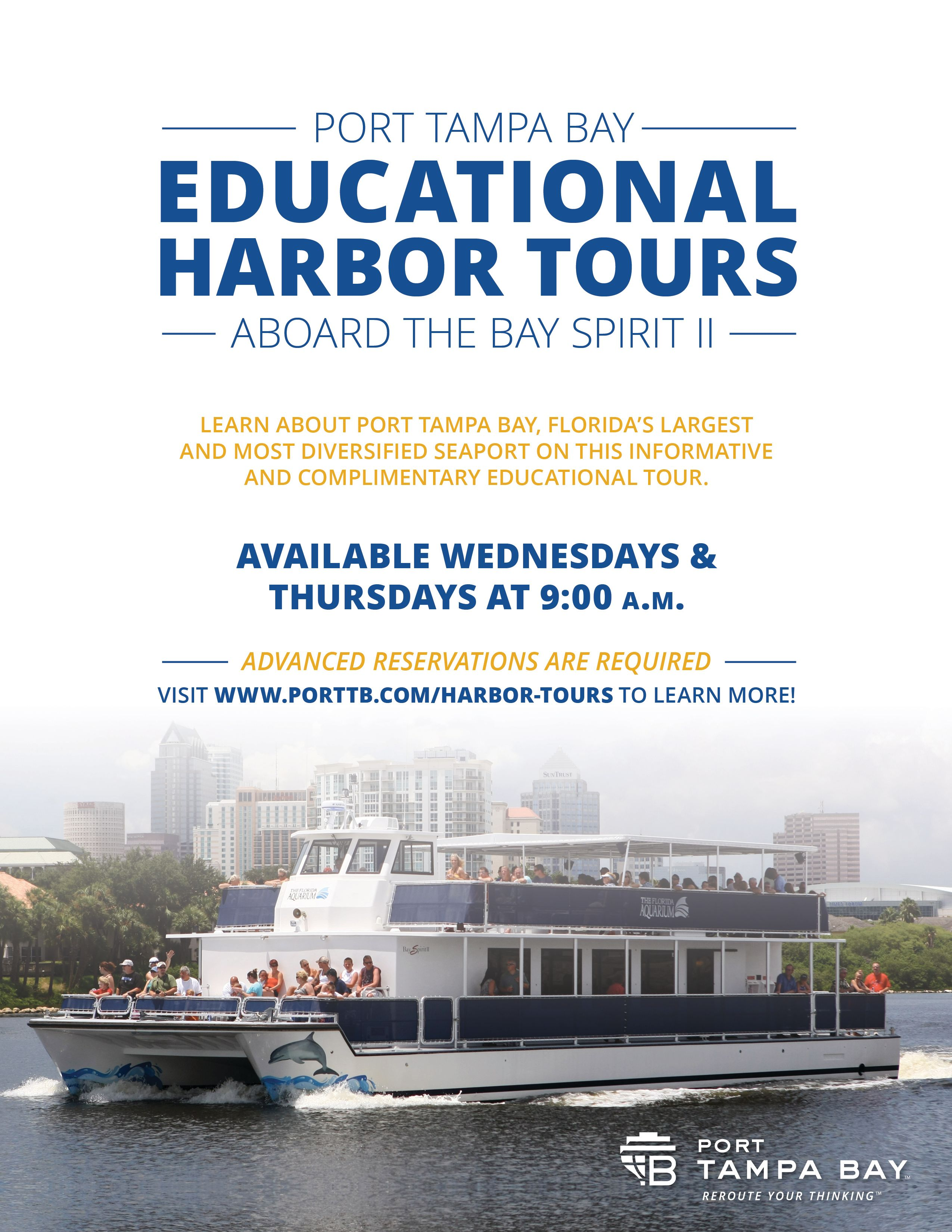 Port Tampa Bay Harbor Tours - Wednesdays and Thursdays at 9am