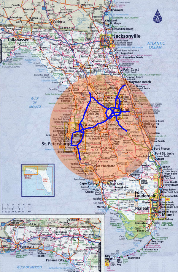Map of Florida with Central Florida Highlighted