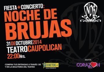 Fiesta + Concierto Noche de Brujas en vivo, Teatro Caupolicán