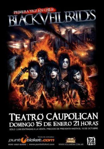 Black Veil Brides en Chile, Teatro Caupolicán - 15/01/2012