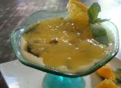 [Desafío Cookcina] Naranja, cognac, queso crema y menta > Cheesecake de naranja con crema a la menta