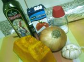 Puré de zapallo, cebolla y ajo rostizados