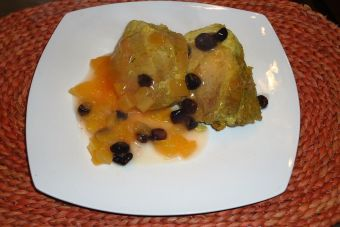 Cocinar cerdo con salsa de papayas