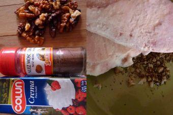 Cómo preparar Pollo desmenuzado con crema de nueces y especias
