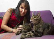 Mujer casada con sus dos gatos celebra décimo aniversario de matrimonio