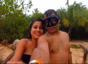 Una peligrosa selfie en medio de una tormenta tropical