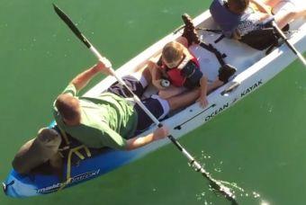 Lobo marino se suma al paseo en kayak de una familia