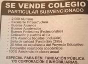 Polémica por aviso de venta de colegio que incluye