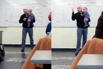Este profesor calmó al bebé de una alumna para que ella no tuviera que retirarse