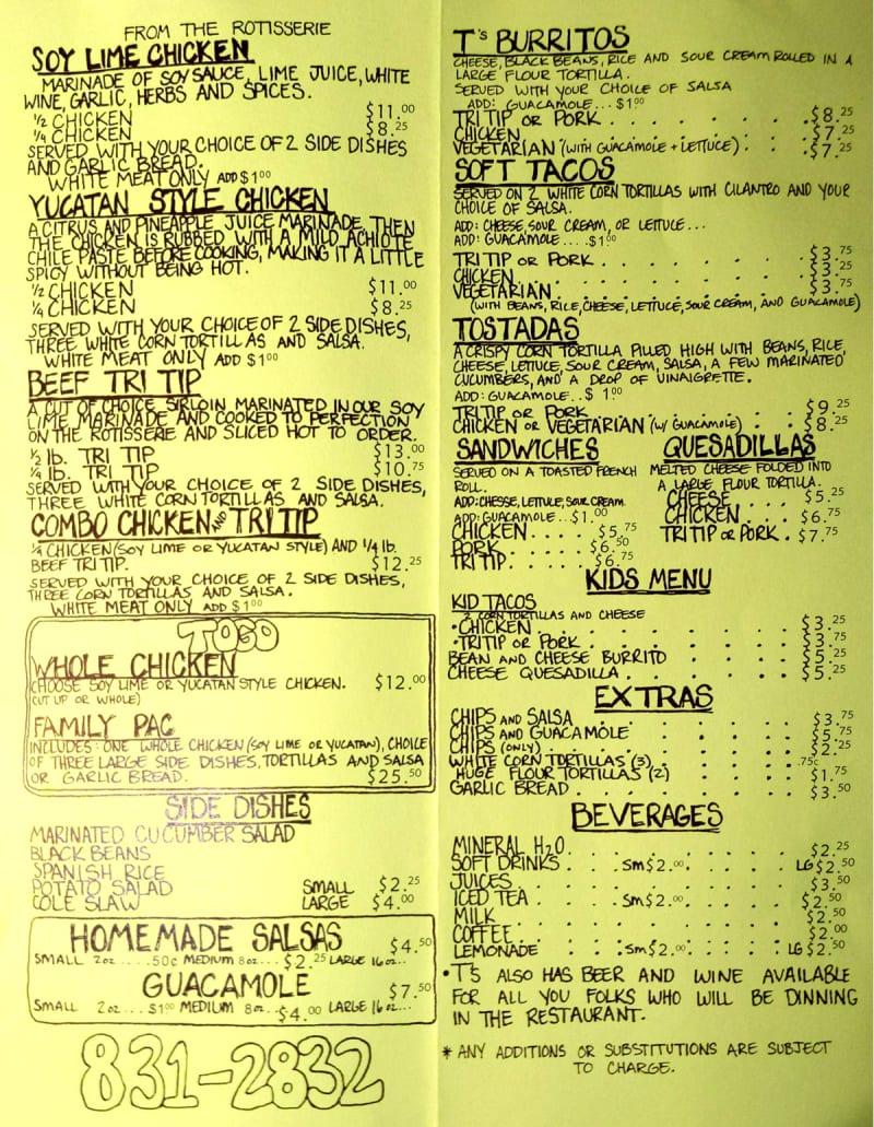 Download the T's Mesquite Rotisserie menu