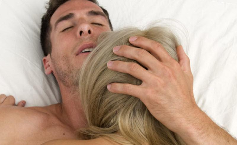 Couple making love and man has an orgasm