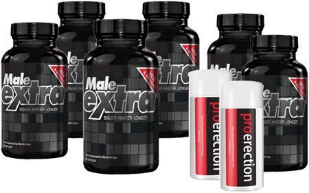 6 Months Supply Male Extra Capsules + 2 FREE Erection Gels