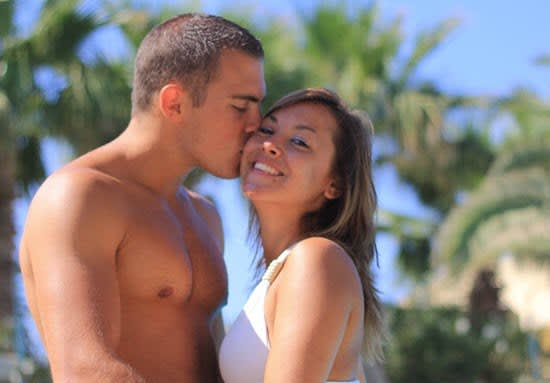 Attractive Couple, Young Man Kissing Beautiful Sexy Woman