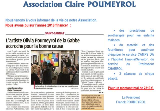 Bilan de l'association Claire Poumeyrol