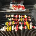 Veggie Kabobs in stainless steel cables