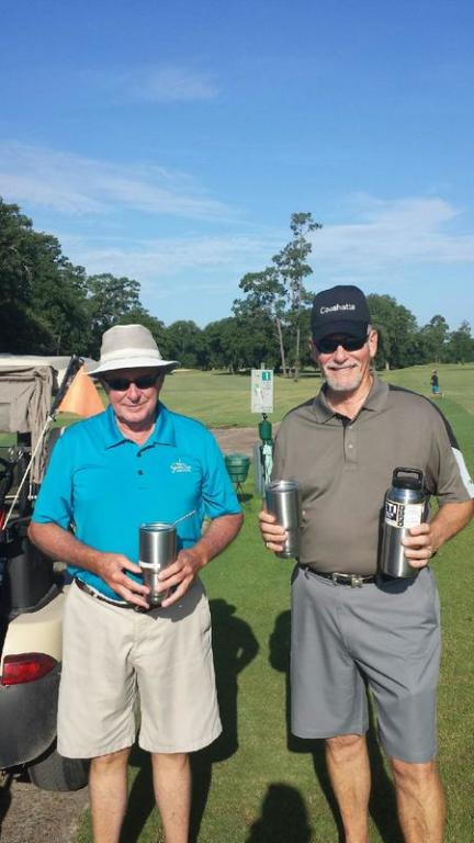 Ready to hit the course with their ice cold yeti beverages.