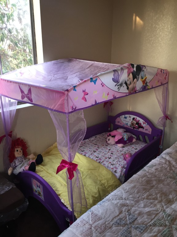 Perfect Toddler Bed for my 3-year old! - Minnie's Bow-Tique Canopy Toddler Bed - Toys