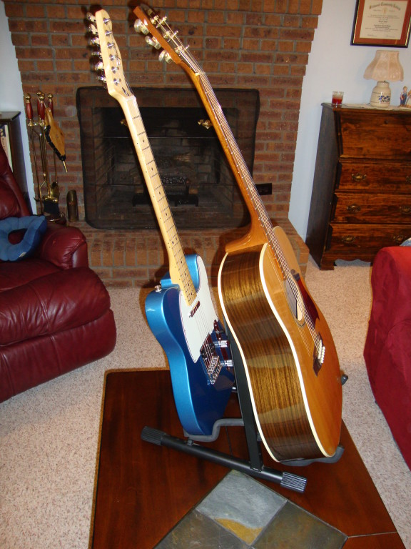 Black Professional Double A-Frame Guitar Stand - WWBW