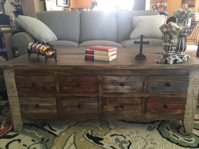 antique collection 8-drawer coffee table in multi-step lacquer