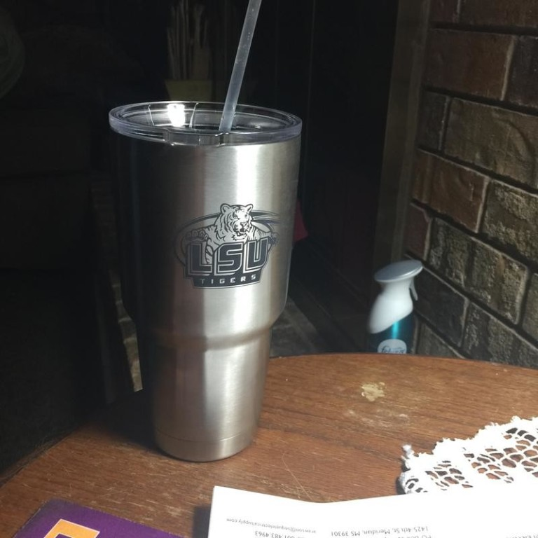 My Rambler Tumbler with LSU TIGERS engraved on it.