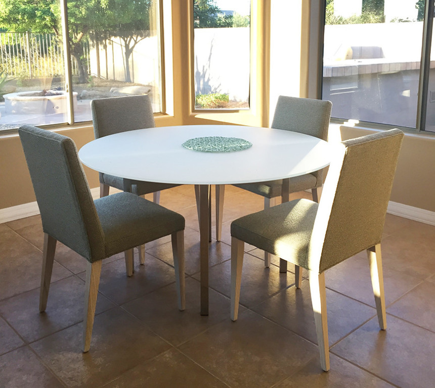 benson dining tables in stainless steel - modern dining tables