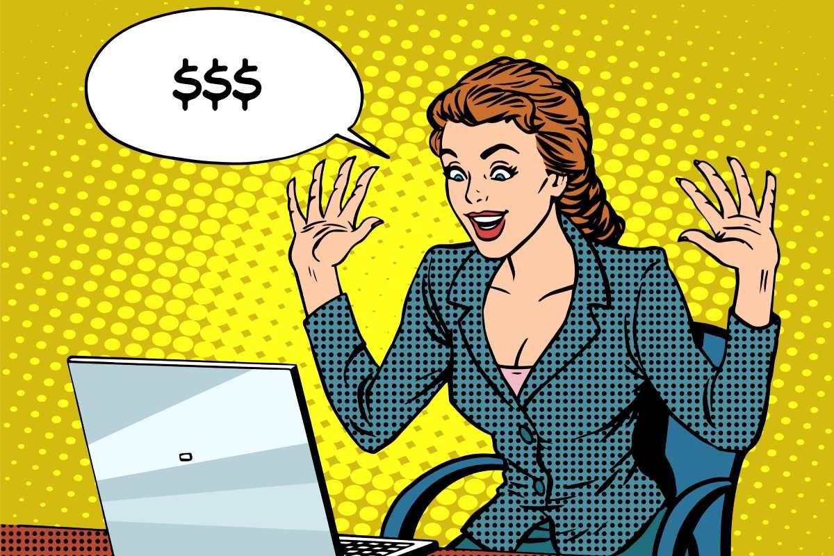 Lichtenstein Lady With Computer