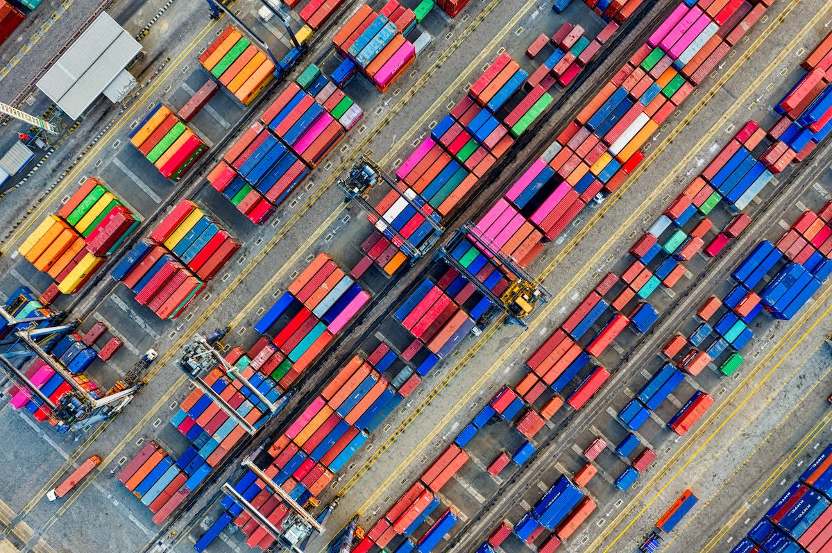 Ariel view of containers