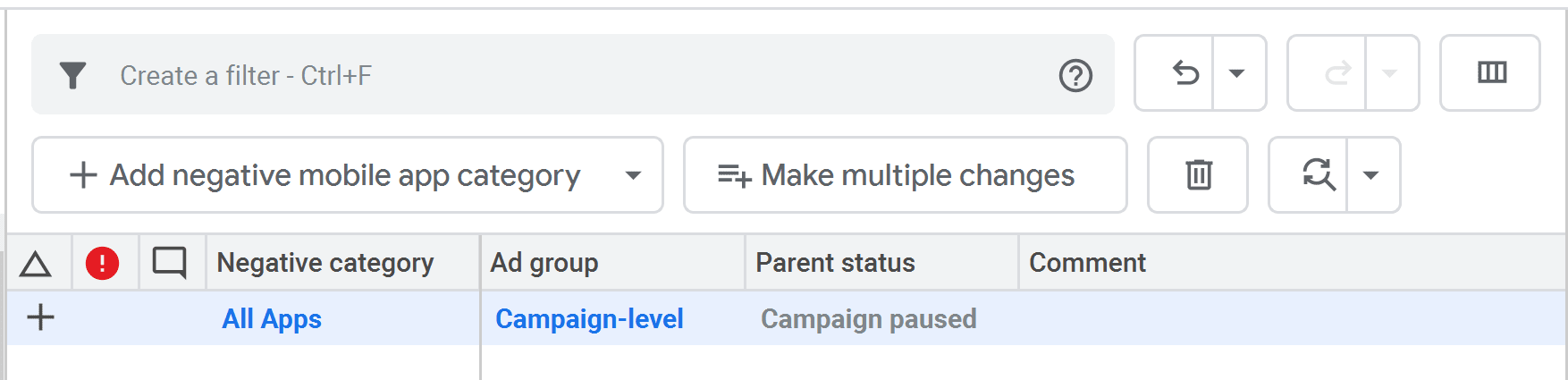 Google Ads Editor Exclusions Screen Shot