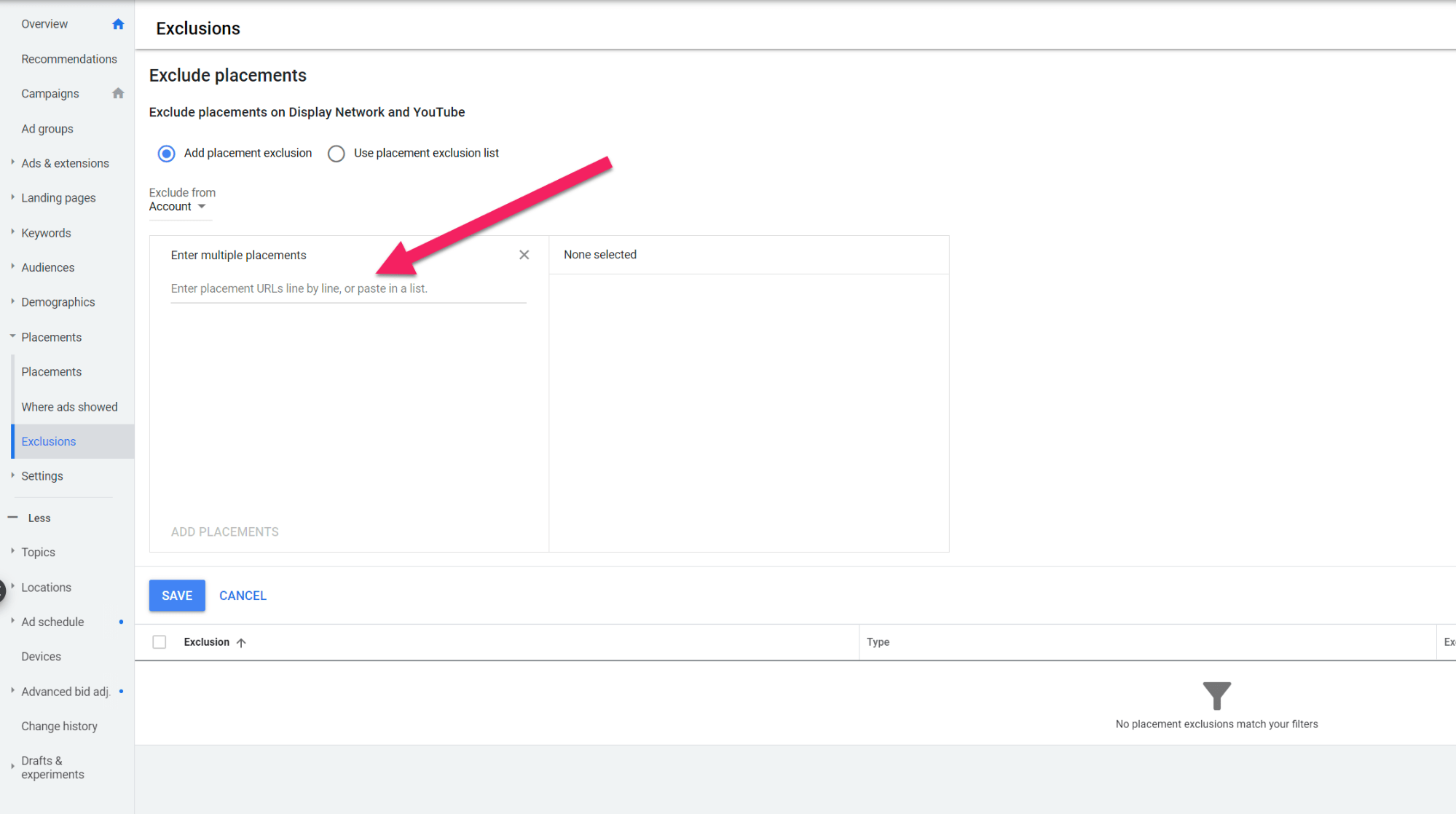 Google Ads Exclusions Screen Shot