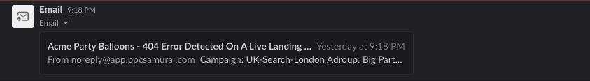 Example Slack Notification