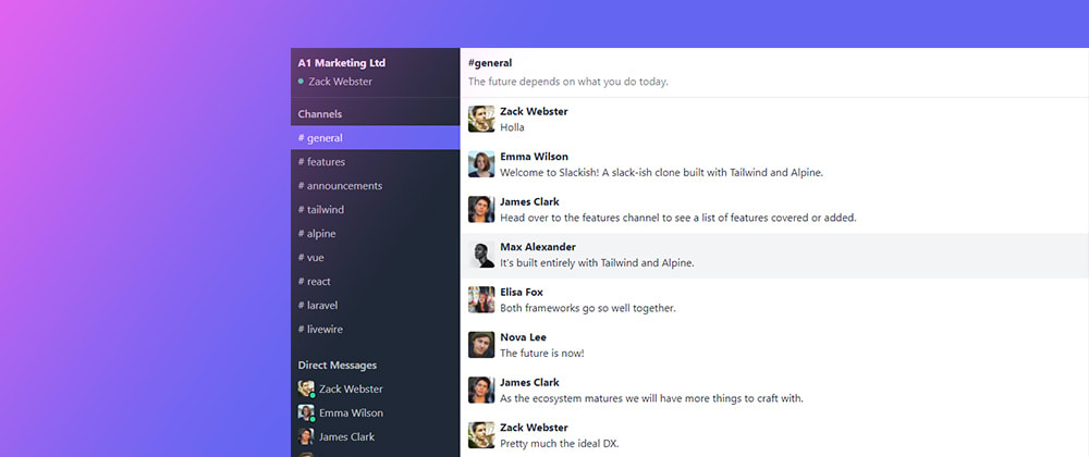 Cover image for Built a Slack clone with Tailwind & Alpine.js