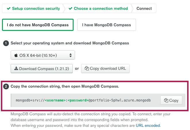 Copy Connection String