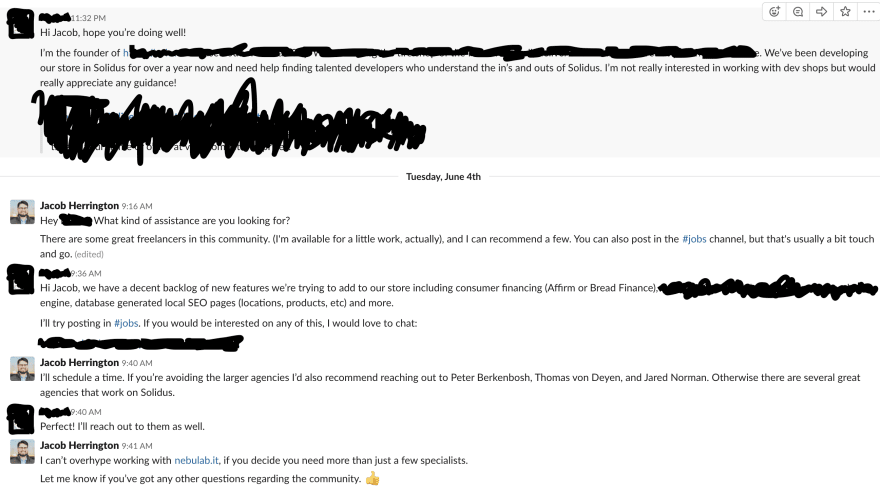 Chat interaction with some details redacted