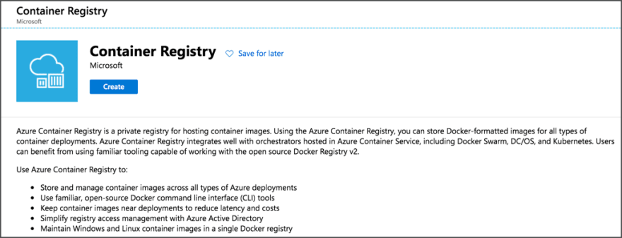 The new container registry blade in the Azure portal