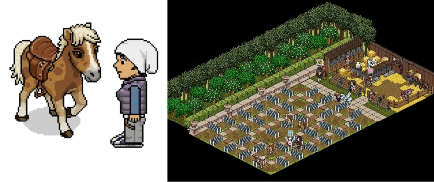 Horse Racing made after 4hours of the Horse furniture being released on Habbo. Named as a fast-build.