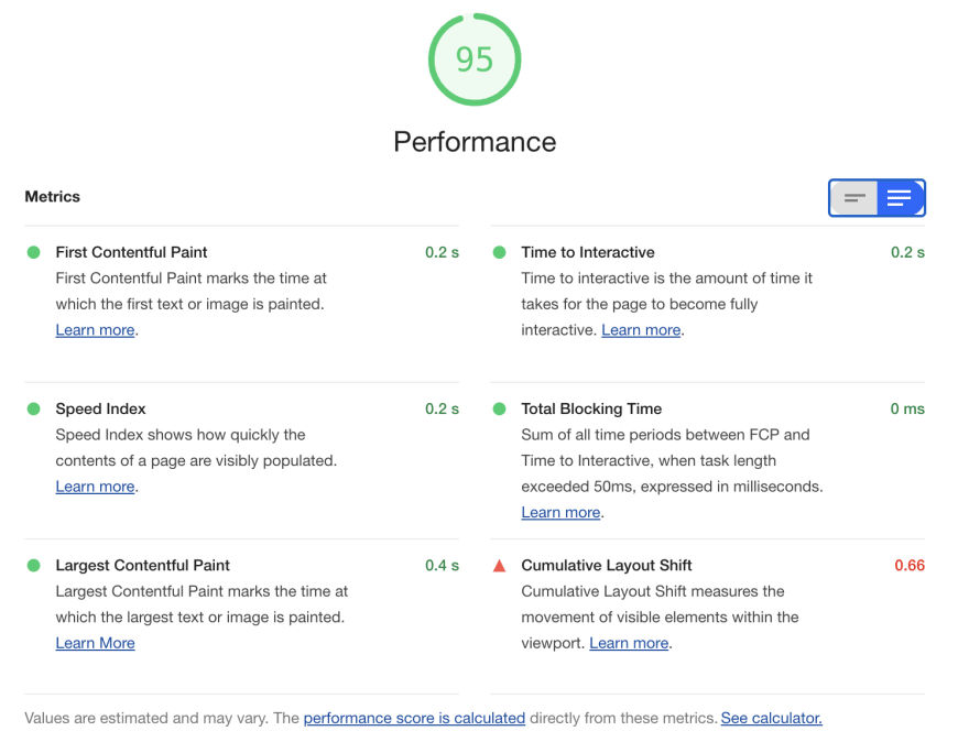 Screenshot of Lighthouse performance report, with the value at 95 and descriptions of the good/bad performance features