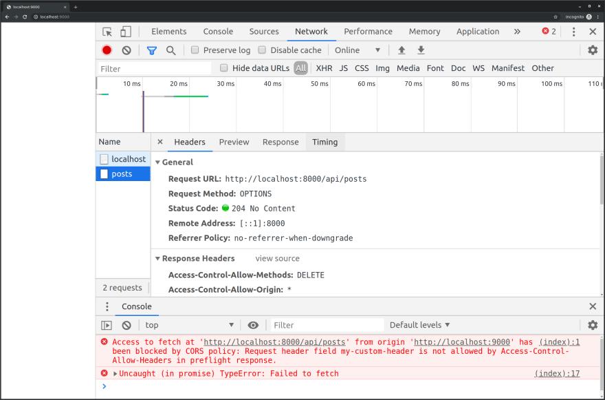 CORS Error when using custom header