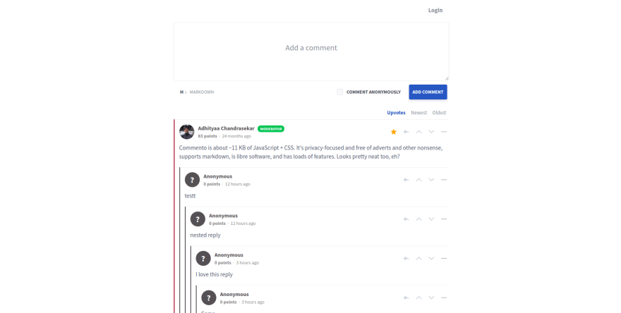 Commento example comment section