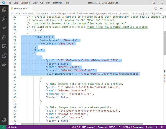 Alt Configuração Windows Terminal