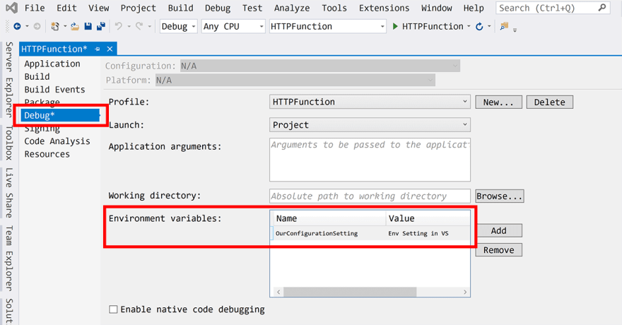 screenshot showing visual studio environment setting dialogue
