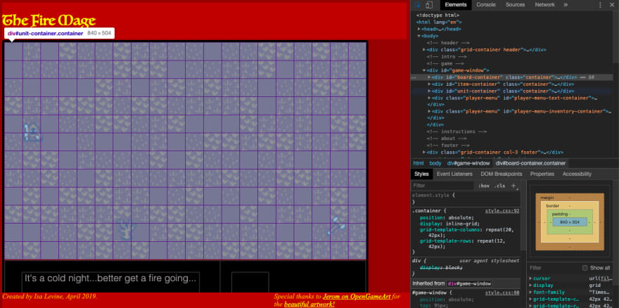 "screenshot of ""the fire mage"" game with inspector open showing css grid"