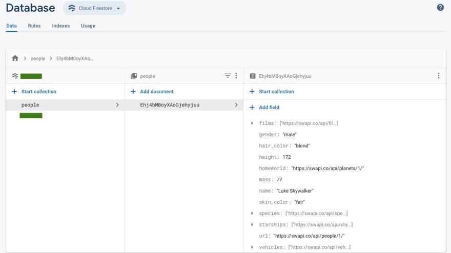 Screenshot of Firebase Firestore console, showing records in UI that resembles file/folder explorer
